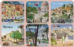70926 Set 6 French Riviera Vintage Style Coasters Drinks Holder Mat Gift